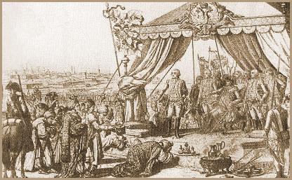 Турки преподносят Потёмкину ключи от крепости Бендеры